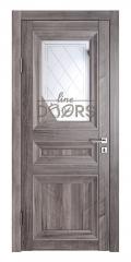 Дверь межкомнатная DO-PG4 Орех седой темный/Зеркало ромб фацет