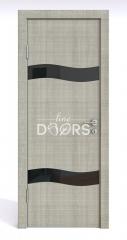 Дверь межкомнатная DO-503 Серый дуб/стекло Черное