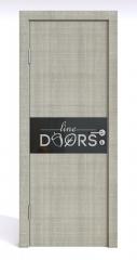 Дверь межкомнатная DO-501 Серый дуб/стекло Черное
