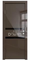 Дверь межкомнатная DO-513 Шоколад глянец/стекло Черное