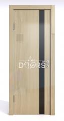 Дверь межкомнатная DO-507 Анегри светлый/стекло Черное