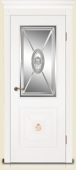 Дверь мебель массив Мадрид 2 Эмаль белая Витраж Алмазная гравировка № 13