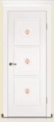 Дверь мебель массив Мадрид 4 Эмаль белая С ручной росписью