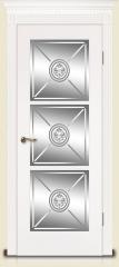 Дверь мебель массив Мадрид 4 Эмаль белая Витраж Алмазная гравировка № 14