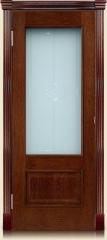 Дверь мебель массив Верона О витраж заливной (Коньячный дуб)