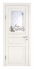 Дверь межкомнатная DO-PG4 Белый ясень/Зеркало ромб фацет
