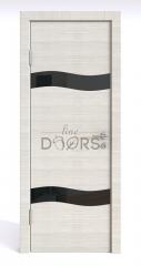 Дверь межкомнатная DO-503 Ива светлая/стекло Черное