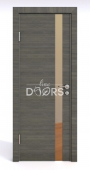 Дверь межкомнатная DO-507 Ольха темная/зеркало Бронза
