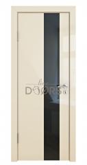 Дверь межкомнатная DO-504 Ваниль глянец/стекло Черное