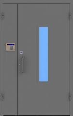 Техническая металлическая двупольная дверь с домофоном