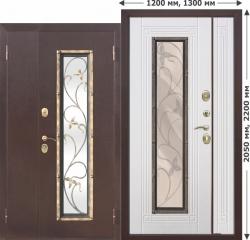 Входная металлическая нестандартная дверь Ferroni со стеклопакетом Плющ 1200х2050, 1300х2050 Белый ясень