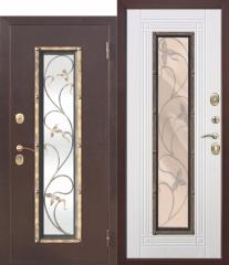 Входная металлическая дверь Ferroni со стеклопакетом Плющ Белый ясень