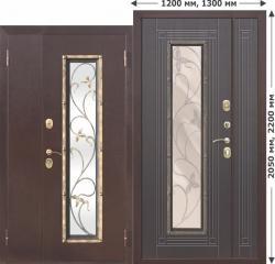 Входная металлическая нестандартная дверь Ferroni со стеклопакетом Плющ 1200х2050, 1300х2050 Венге