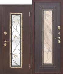 Входная металлическая дверь Ferroni со стеклопакетом Плющ Венге