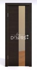 Дверь межкомнатная DO-504 Венге горизонтальный/зеркало Бронза