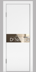 Дверь межкомнатная DO-509 Белый бархат/зеркало Бронза