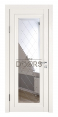 Дверь межкомнатная DO-PG6 Белый ясень/Зеркало ромб фацет