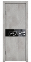 Дверь межкомнатная DO-509 Бетон светлый/стекло Черное