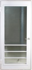 Техническая металлическая однопольная дверь с армированным стеклом