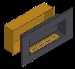 Теплоизоляционный корпус для встраивания в мебель для очага 1000 мм