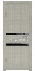 ШИ дверь DO-613 Серый дуб/стекло Черное