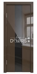 ШИ дверь DO-610 Шоколад глянец/стекло Черное