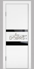 ШИ дверь DO-612 Белый бархат/стекло Черное