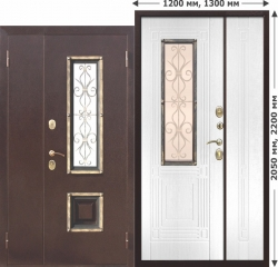 Входная металлическая нестандартная дверь Ferroni со стеклопакетом Венеция 1200 Белый ясень