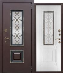 Входная металлическая дверь Ferroni со стеклопакетом Венеция Белый ясень
