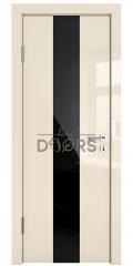 Дверь межкомнатная DO-510 Ваниль глянец/стекло Черное