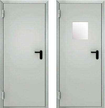 Противопожарные двери стальные ПДС однопольные глухие и со стеклом