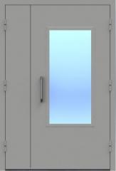 Техническая металлическая двупольная дверь со стеклом