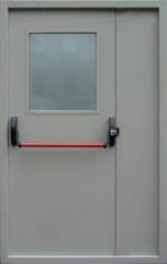 """Противопожарные двери стальные ПДС """"Антипаника"""" двупольные со стеклом"""