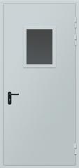 Техническая металлическая однопольная дверь со стеклом